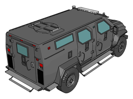 3D vector illustration on white background of  armed military vehicle