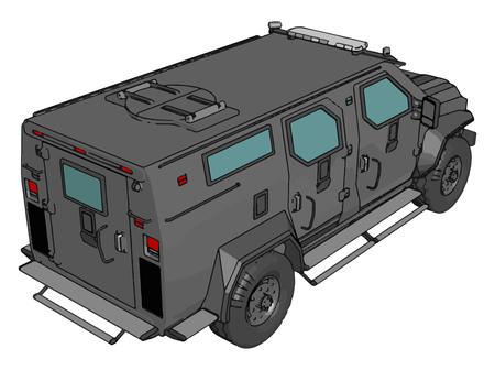 3D-Vektor-Illustration auf weißem Hintergrund des bewaffneten Militärfahrzeugs