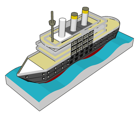 3D illustration of a sea cruiser vector illustration on white background
