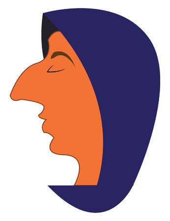 A man whose eyes are closed and is wearing a purple hoodie vector color drawing or illustration