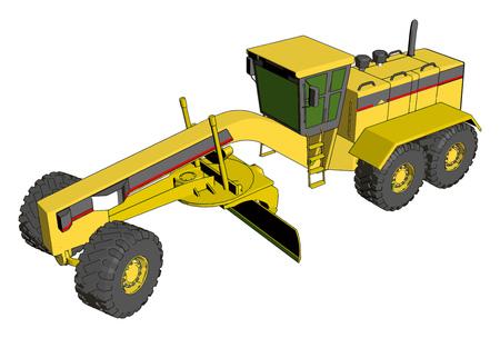 Illustration vectorielle de niveleuse industrielle jaune sur fond blanc Vecteurs