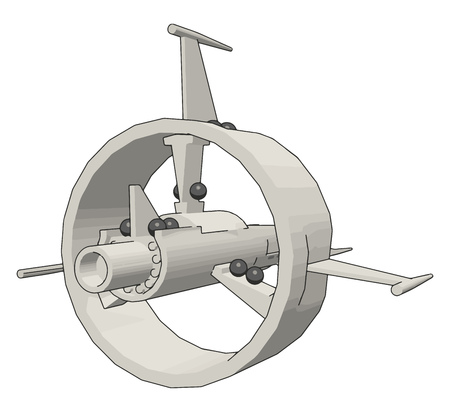 Fantasy battle cruiser vector illustration on white background Ilustrace