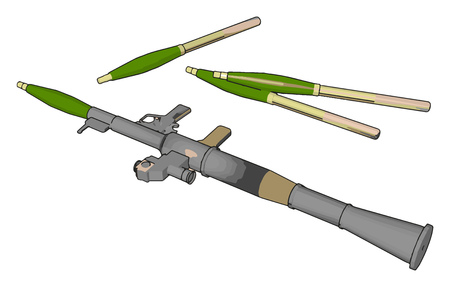 3D vector illustration on white background  of a military shoulder fired rocket launcher