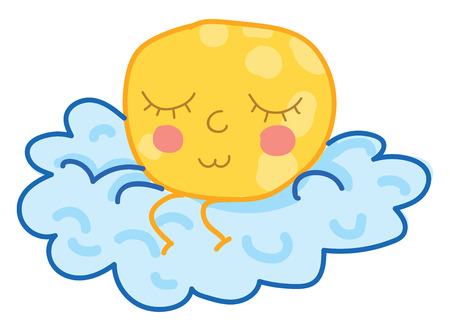 A moon sitting on a cloud with eyes closed vector color drawing or illustration Imagens - 123462528