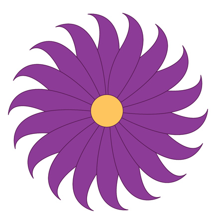 A purple flower having several petals and a yellow circle in the middle vector color drawing or illustration