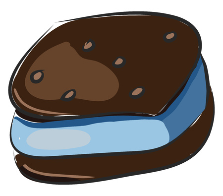 Brown cookie with blue cream vector illustration on white background