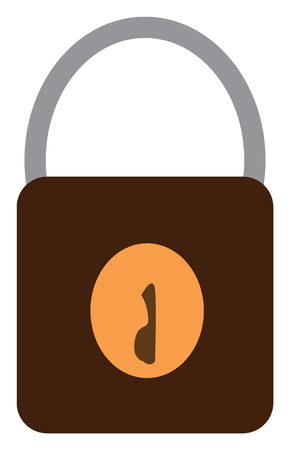 A black and yellow lock with a keyhole vector color drawing or illustration