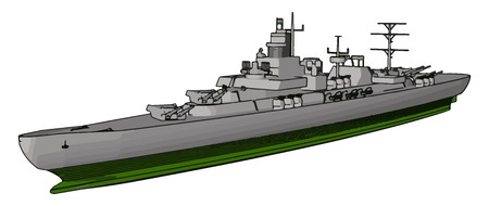3D vector illustration side view of a military war ship on a white background