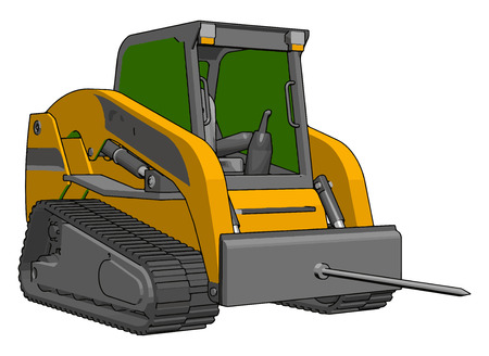 Green and yellow bale transportation vehicle vector illustration on white background