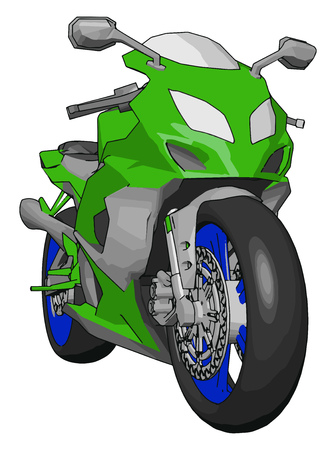 3D vector illustration on white background of a grey blue and green motorcycle