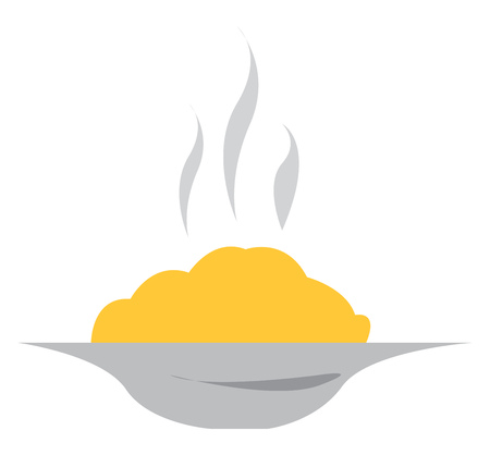 A plate containing yellow food which looks hot as steam is coming out of it vector color drawing or illustration