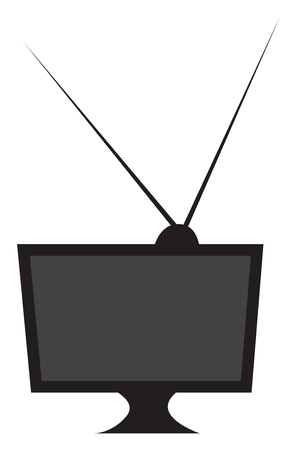 A black television having two antennas on top of it vector color drawing or illustration