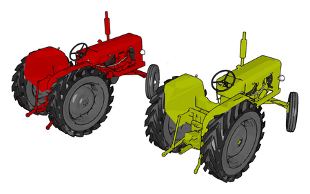 Green and red tractors vector illustration on white background