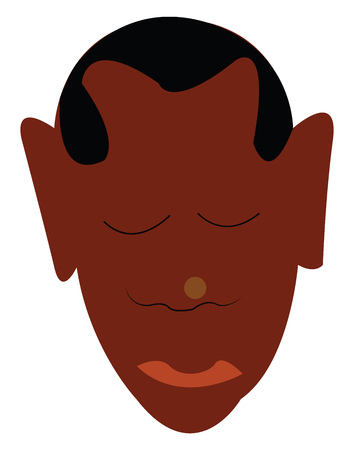 An image of a man with dark brown skin tone with a buzz hair cut vector color drawing or illustration Standard-Bild - 123462569