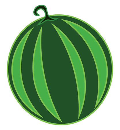A round green striped watermelon vector color drawing or illustration Stock Illustratie