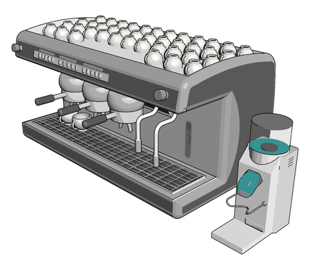 Espresso machine vector illustration on whiye background