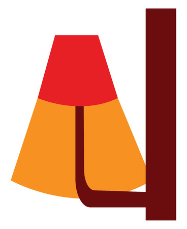 A red lamp with a brown stand which is lit vector color drawing or illustration