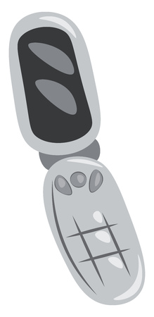A grey flip phone vector color drawing or illustration