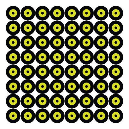 A graphical design of several black and yellow disks arranged in rows vector color drawing or illustration