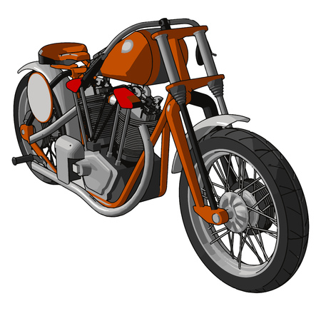 Orange and grey vintage motorcycle vector illustration on white background