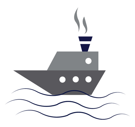 An image in which smoke is coming out of the chimney of a big gray ship sailing in water vector color drawing or illustration