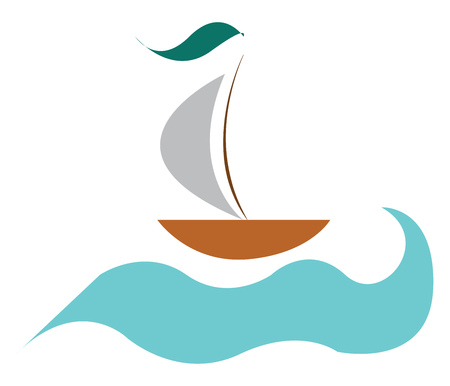 A drawing of a ship with green flag sailing in water vector color drawing or illustration 版權商用圖片 - 123462591
