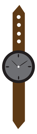 A wrist watch with a brown belt vector color drawing or illustration