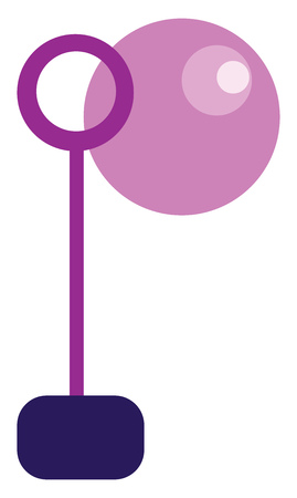 An image of a bubble blowing toy and a pink bubble vector color drawing or illustration