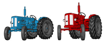 Blue and red tractor vector illustration on white background 向量圖像