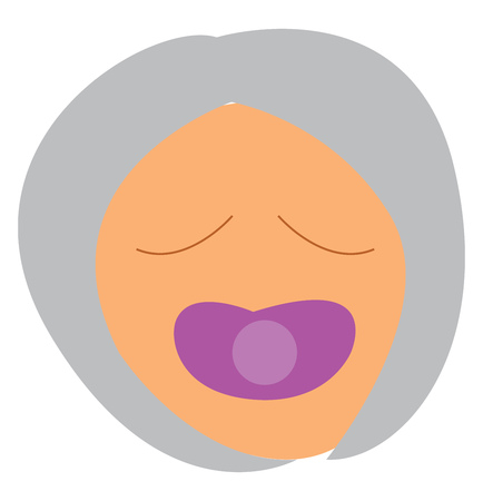 A cartoon of a babys face with eyes closed with a pacifier in his mouth vector color drawing or illustration Illustration