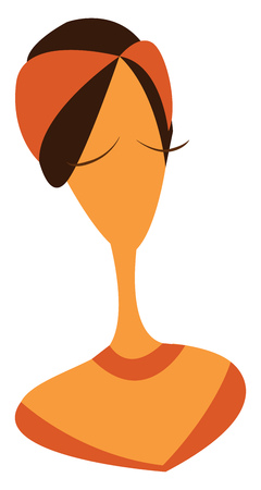 A woman with long neck wearing a brown bandana vector color drawing or illustration