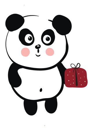 Cute black and white panda holding a red gift vector illustration on white background Standard-Bild - 121018403