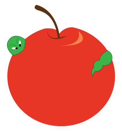 A red apple containing a green worm vector color drawing or illustration
