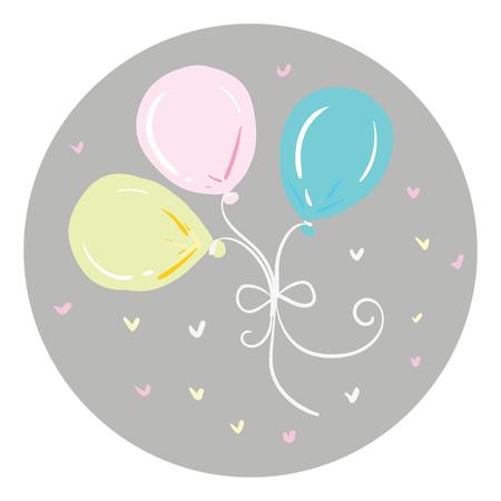 Three beautiful balloons vector or color illustration Illustration