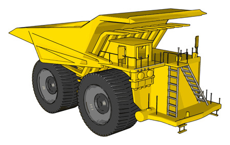 Vector illustration of an yellow dumper truck white background Vettoriali
