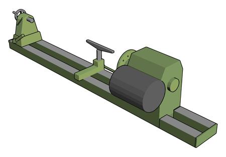 Industrielle grüne und graue Drehbankvektorillustration auf weißem Hintergrund