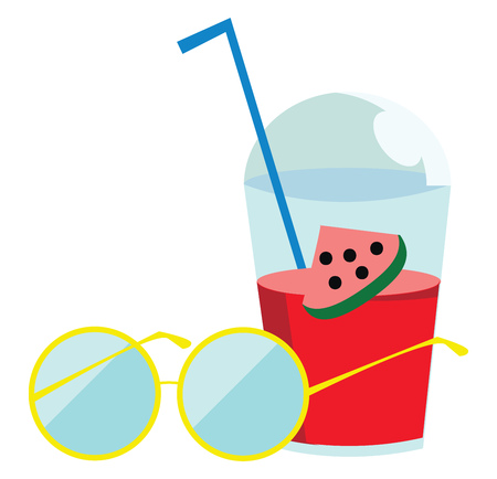 Sunglass and a watermelon drink to relax during a hot summer day vector color drawing or illustration