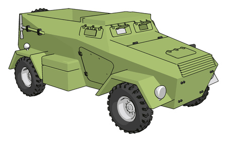 3D vector illustration on white background of a green armoured military vehicle 向量圖像