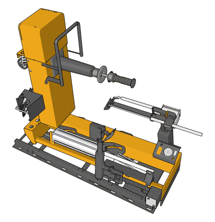 Vector illustration of  an yellow bore lathe white background
