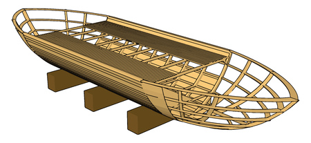 3D vector illustration on white backgroudn of  a brown wooden boat keel
