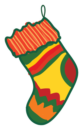 A colorful christmas stocking with a thread attached to hang it vector color drawing or illustration Ilustrace
