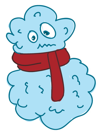 A cloud wearing red scarf making an awkward face vector color drawing or illustration 일러스트
