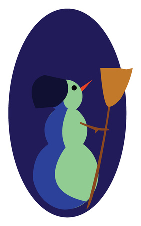 A snowman standing with a broom in his hand vector color drawing or illustration