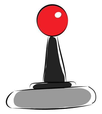 Black and grey joystick with red knob  vector illustration on white background 일러스트