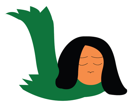 A dejected girl wearing a green scarf vector color drawing or illustration