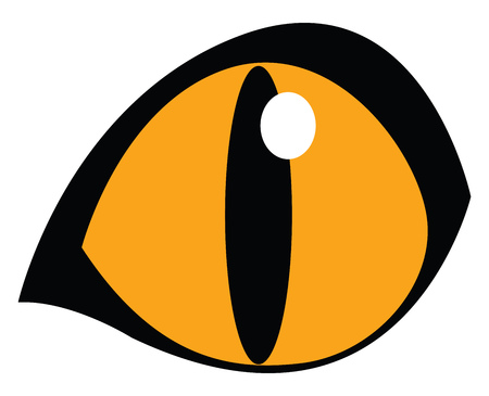A yellow eye with huge pupil vector color drawing or illustration