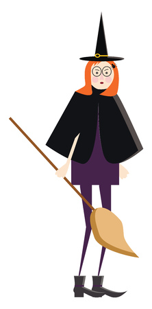 A lady in witch costume with a long broom in hand vector color drawing or illustration