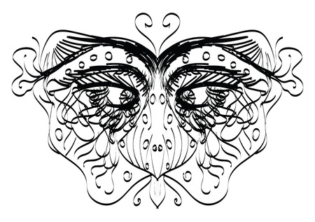 A line mask worn by a person vector color drawing or illustration Ilustração
