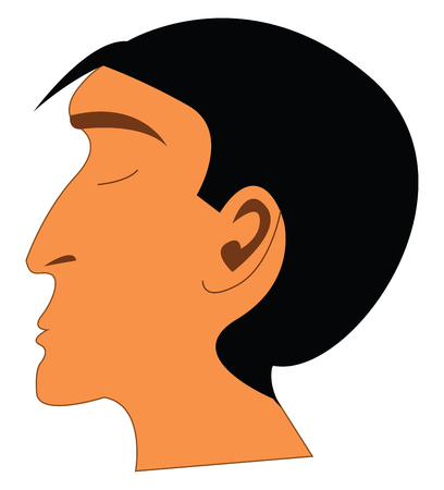 A boy with long nose and panted hair vector color drawing or illustration Ilustracja