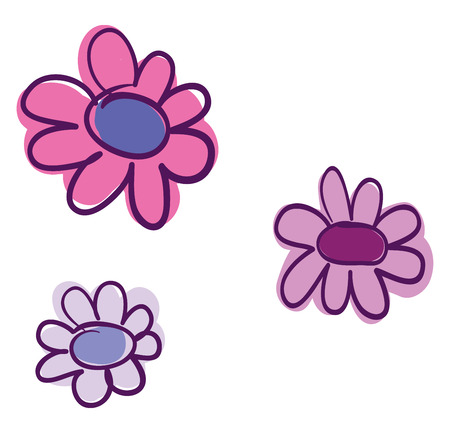 An image of pink and white sunflowers vector color drawing or illustration Çizim